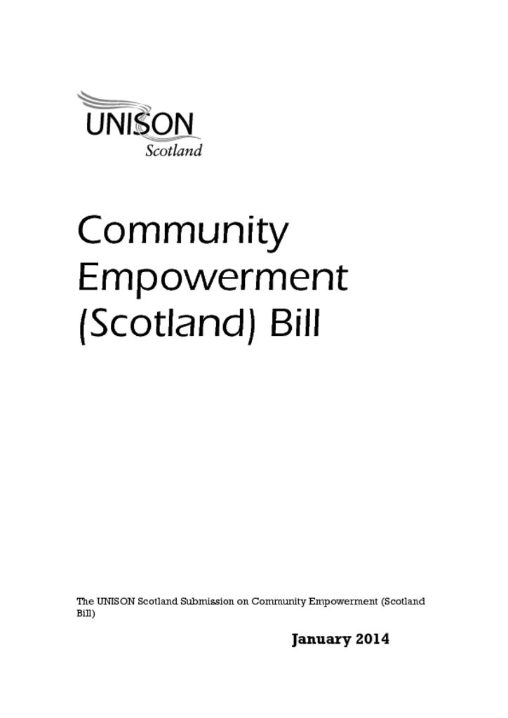 Community Empowerment (Scotland) Bill response