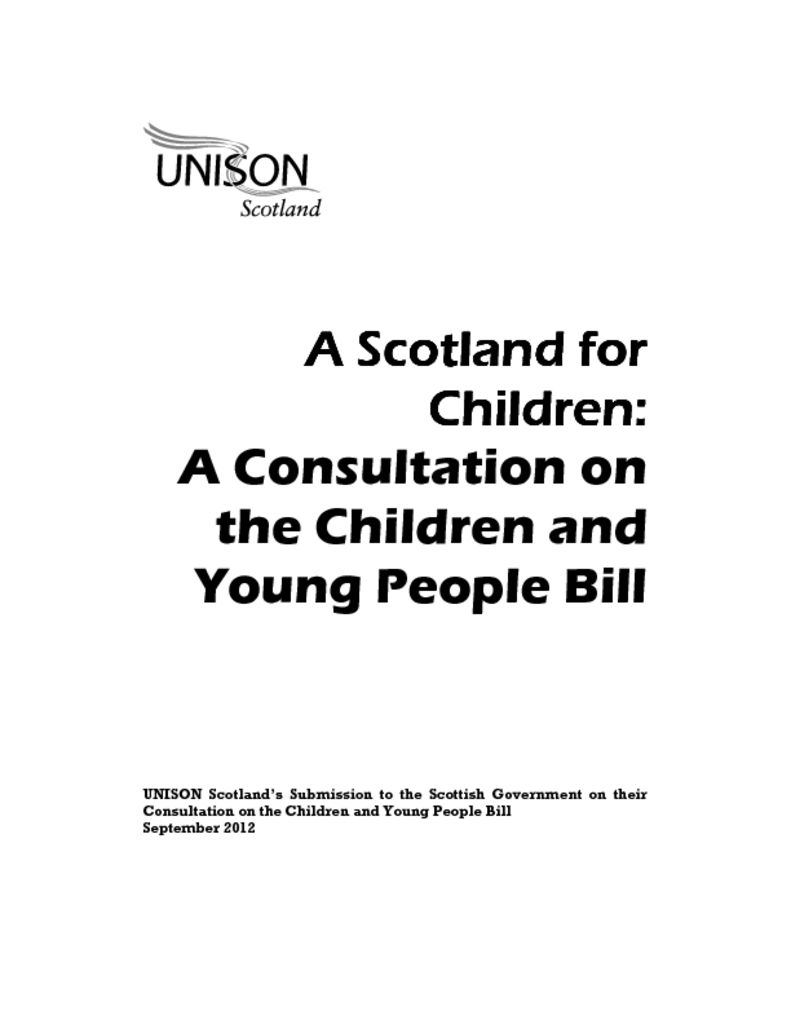 Consultation on the Children and Young People Bill