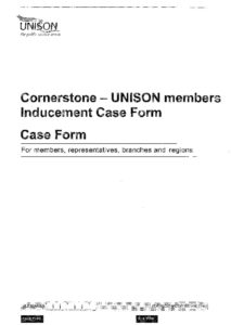 thumbnail of Cornerstone UNISON members inducement case form Jan 2019