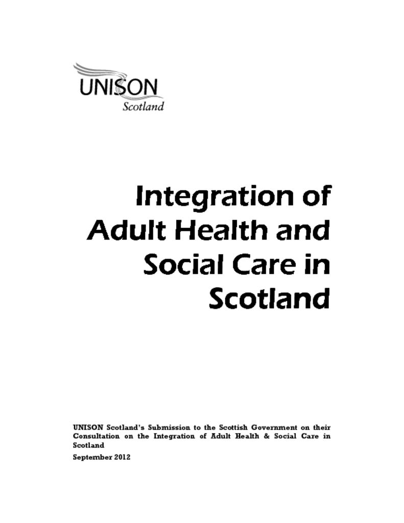 Integration of Care in Social Care in Social Care in Scotland