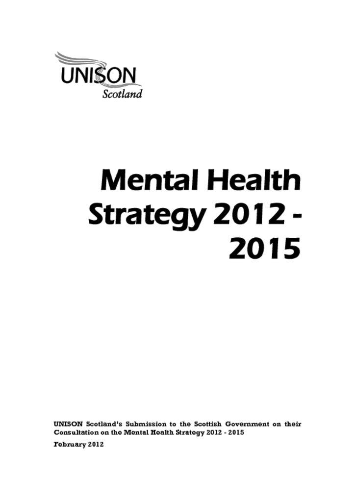 Mental Health Strategy 2012 - 2015