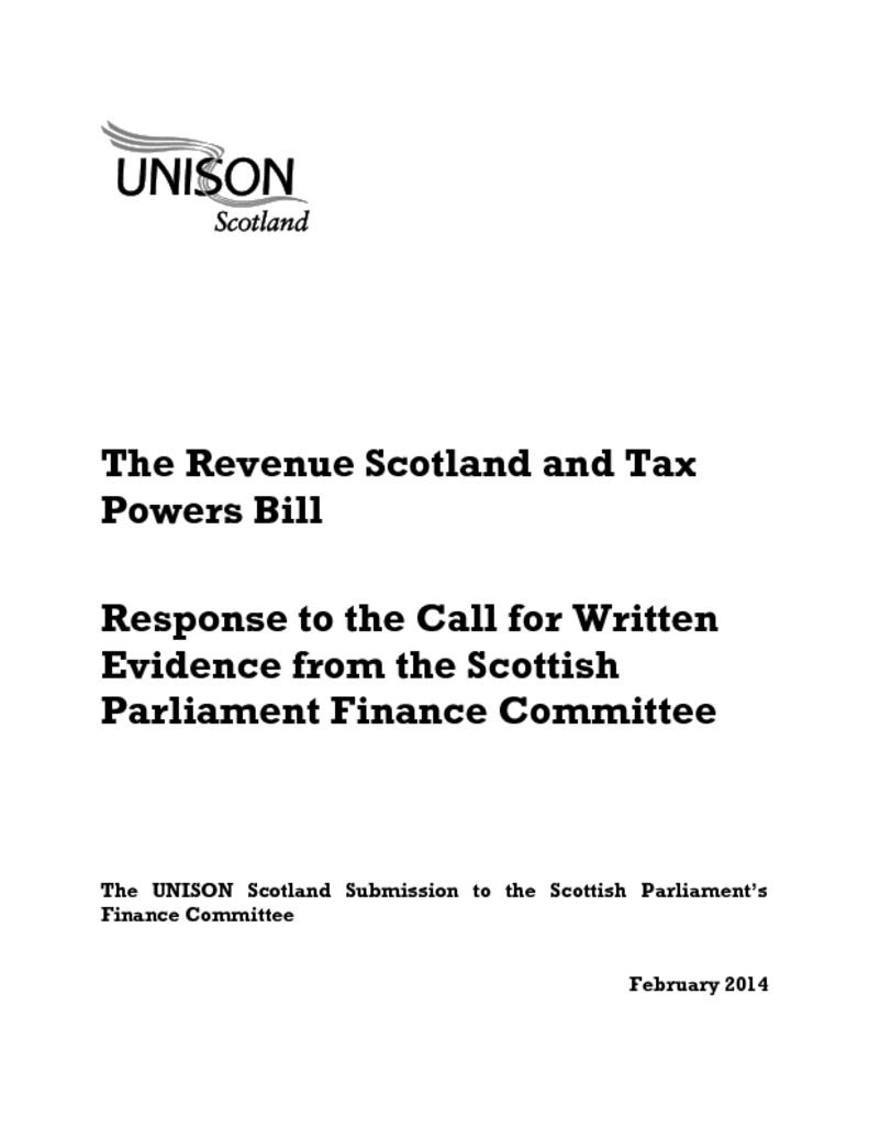 The Revenue Scotland and Tax Powers Bill response