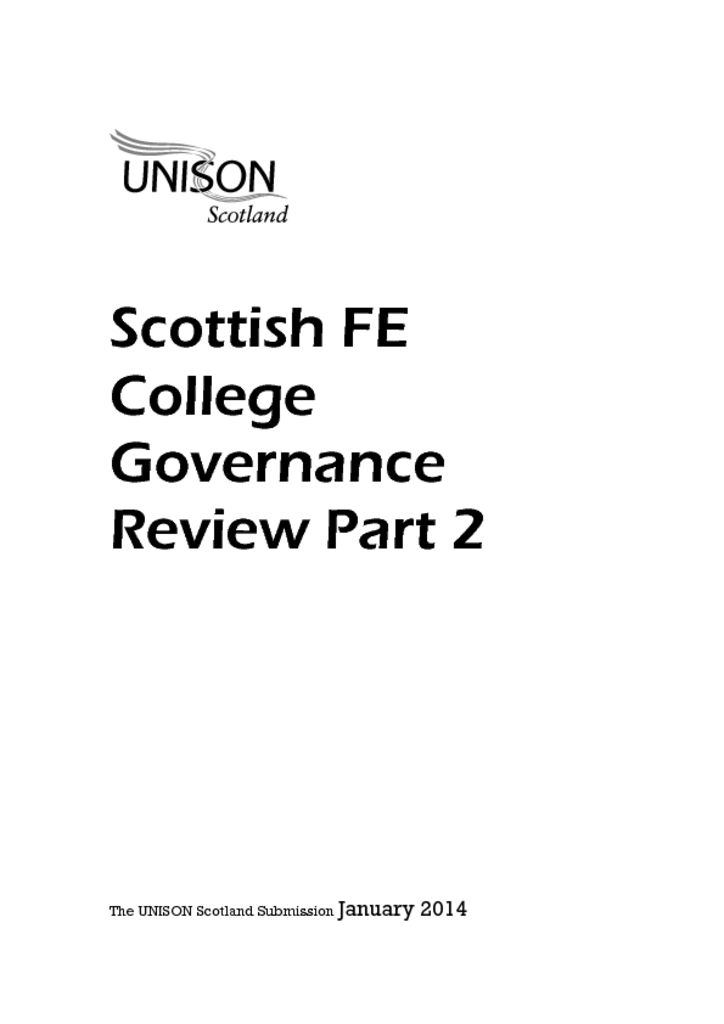 Scottish FE College Governance Review Part 2 response