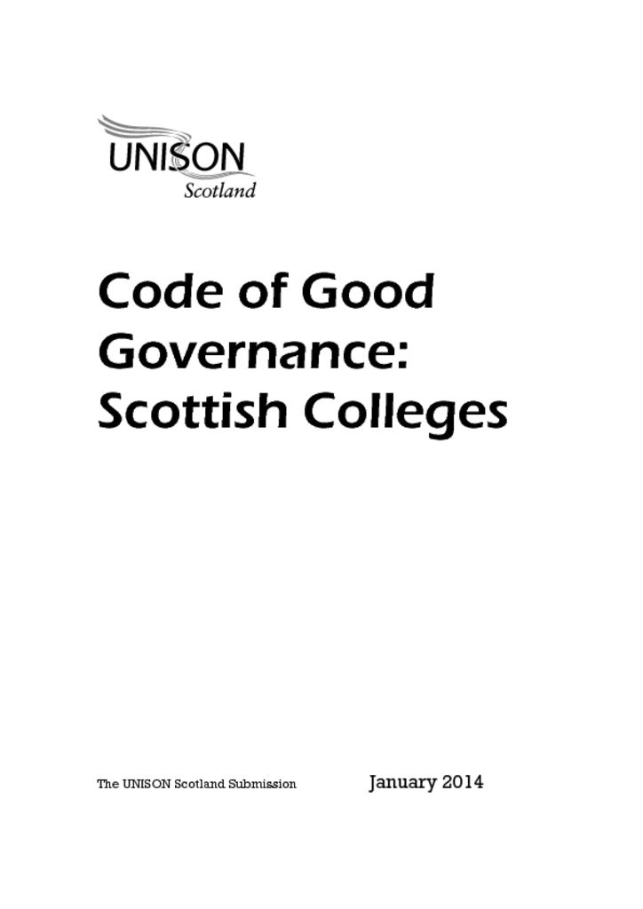 Code of Good Governance: Scottish Colleges response