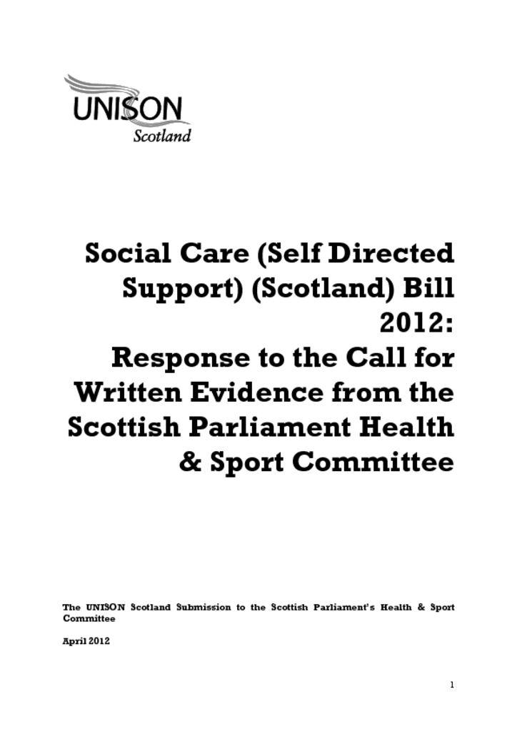 Social Care (Self Directed Support) (Scotland) Bill