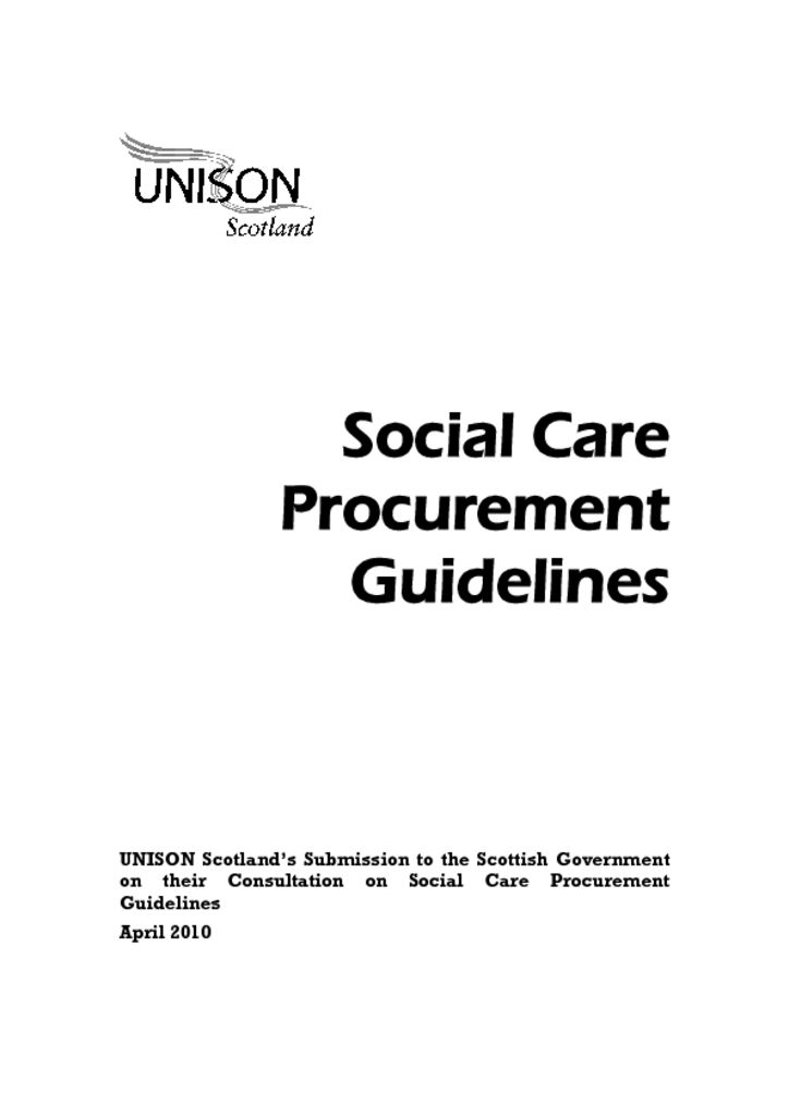 Social Care Procurement Guidelines