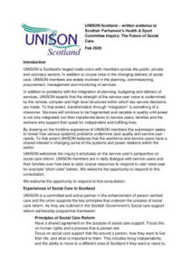 thumbnail of UNISON Scotland Evidence – HandS cttee future of Social care Feb 2020