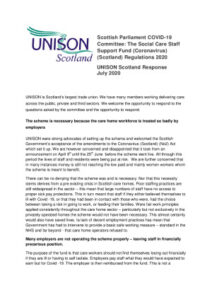 thumbnail of UNISON Scotland evidence Social Care Staff Support Fund Regs