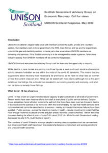 thumbnail of UNISON Scotland response Advisory group on economic recovery group 2020