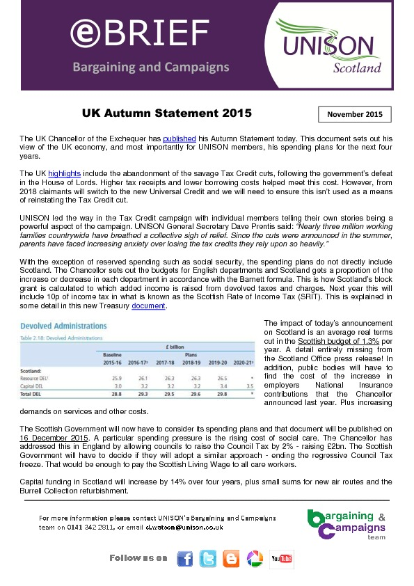 e-briefing on Autumn Statement - Osborne forced to abandon savage tax credit cuts